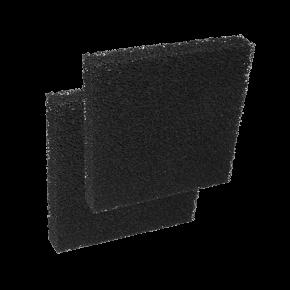 CAPAC 2x Mousse de filtration charbon actif - 9,5 x 9,5 x 5 cm