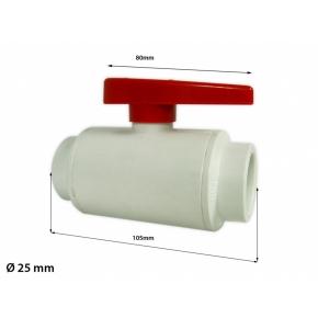Vanne PVC diamètre 25mm - Blanc