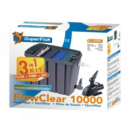 SUPERFISH FlowClear Kit 10000 - Filtre + UV + Pompe