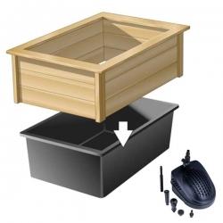 UBBINK Kit Quadra Wood 2, Bassin préformé + cadre en bois + pompe à eau - 475 litres
